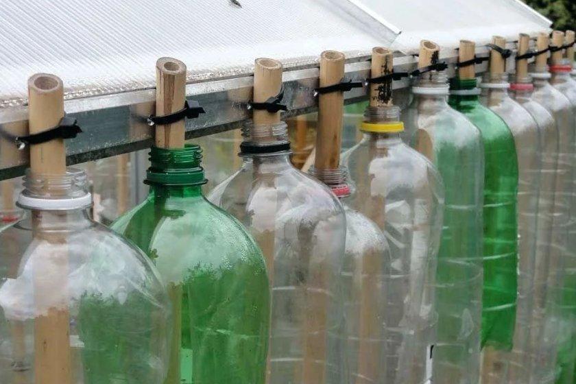 Стенка парника из пластиковых бутылок