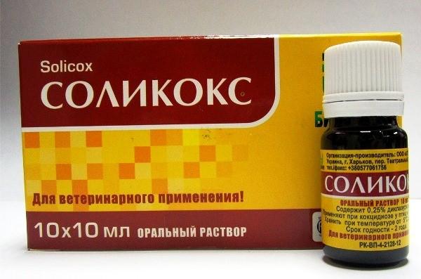 Соликокс применяют в лечебной терапии при кокцидиозе