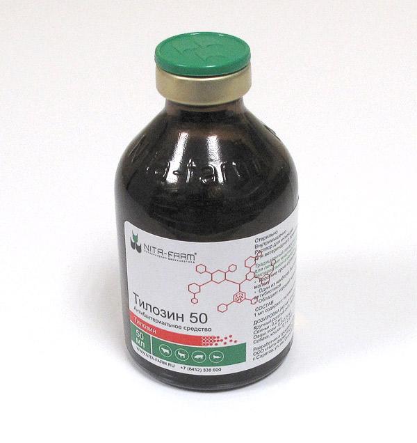 Тилозин 50 — антибактериальный ветпрепарат для птиц, с/х животных